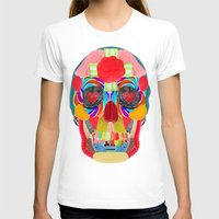 Sweet Sweet Sugar Skull On Black Womens Fitted Tee White SMALL
