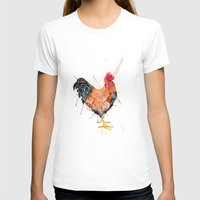 Mr Rooster  Womens Fitted Tee White SMALL