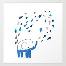 how an elephant showers Art Print