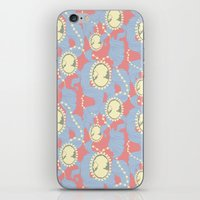 Cameo & Trailing Hair // Blue & Apricot pastels. iPhone & iPod Skin