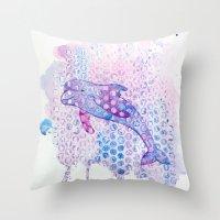 Watercolor Dolphin Throw Pillow