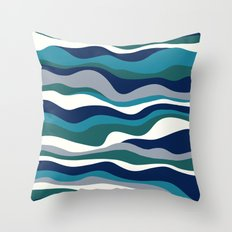Cordillera Stripe: Teal Navy Combo Throw Pillow