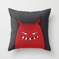 Evil Monster With Pointy Ears Throw Pillow