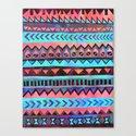PATTERN {Tribal Stripe- Aqua} Canvas Print