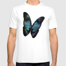 AM I A BUTTERFLY DREAMING I AM AN HUMAN SMALL Mens Fitted Tee White