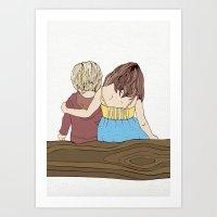 Boy & Girl On Log Art Print