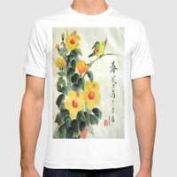 Green Bird Sensations Mens Fitted Tee White SMALL