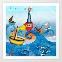Regatta Duck Sailing Swi… Art Print