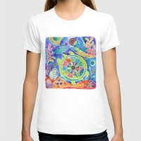 Sea Turtle Abstract Womens Fitted Tee White SMALL