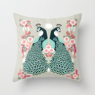 Peacocks By Andrea Laure… Throw Pillow