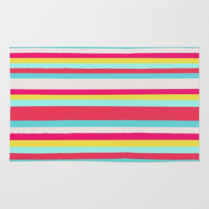 girly surf stripes rug by nika society6