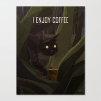 A Cat Enjoys Coffee Canvas Print