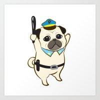 Animal Police - Pug Art Print