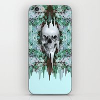 Seeing Color, melting floral skull in mint iPhone & iPod Skin