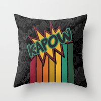 Kapow [Rainbow] Throw Pillow