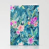 PARADISE FLORAL - NAVY Stationery Cards