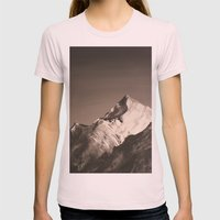 Mountain Painting Womens Fitted Tee Light Pink SMALL