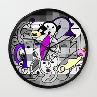 Black White Commotion Wall Clock