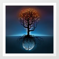 Tree, Candles, and the Moon Art Print