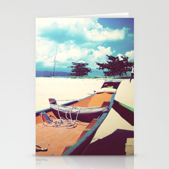 Longboat on the Shore, Thailand Stationery Card