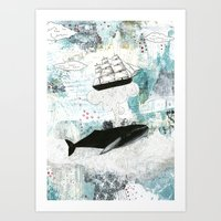 Art Print featuring A Whale Of a Fish Story by Sarah Ogren