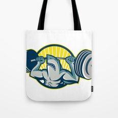 Shark Weightlifter Lifting Barbell Mascot Tote Bag