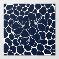 Hibiscus Flower Animal Print Navy  Canvas Print