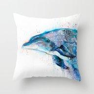 Throw Pillow featuring Dolphin  by Slaveika Aladjova