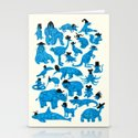 Blue Animals Black Hats Stationery Cards