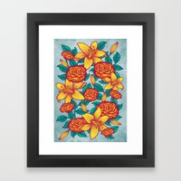 Flowers - Red Framed Art Print