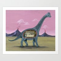 Home Sweet Brachiosaurus Art Print