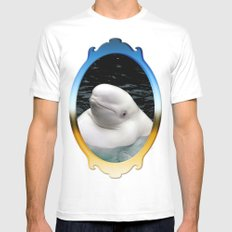 Beluga Whale Mens Fitted Tee SMALL White