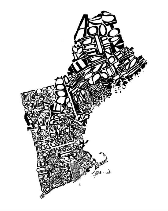 Typographic New England Art Print