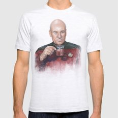 Captain Picard Earl Grey Tea | Star Trek Painting Mens Fitted Tee Ash Grey SMALL