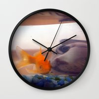 Fish in trouble Wall Clock