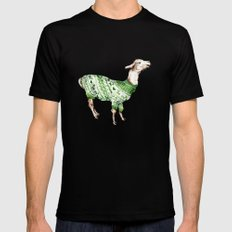 Llama in a Green Deer Sweater Mens Fitted Tee Black SMALL