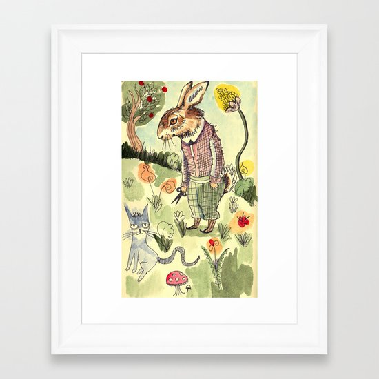 Rabbits Garden Framed Art Print