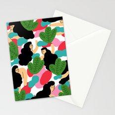 Girl Pattern Leaf Stationery Cards