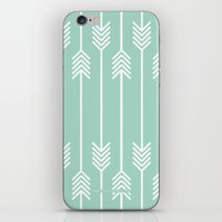 White Arrows on Mint iPhone & iPod Skin