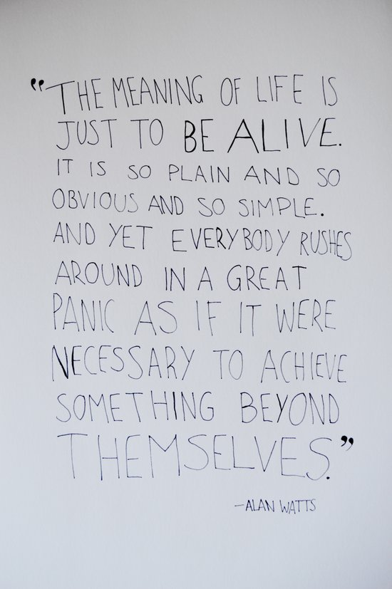 The Meaning of Life - Alan Watts Quote Art Print by ...