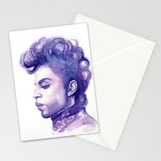 Prince Portrait Purple Watercolor  Stationery Cards