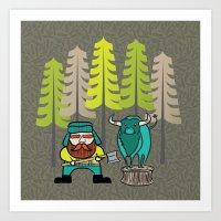Lumberjack & Blue Ox Art Print