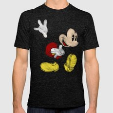 DISNEY MICKEY MOUSE: DAR… Mens Fitted Tee Tri-Black SMALL