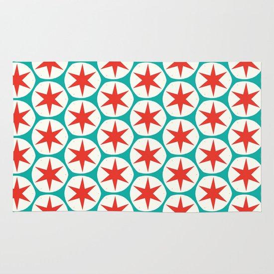 Retro Red Stars Pattern Area & Throw Rug