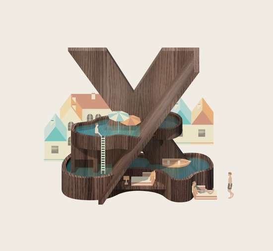 Resort type - Letter X Canvas Print