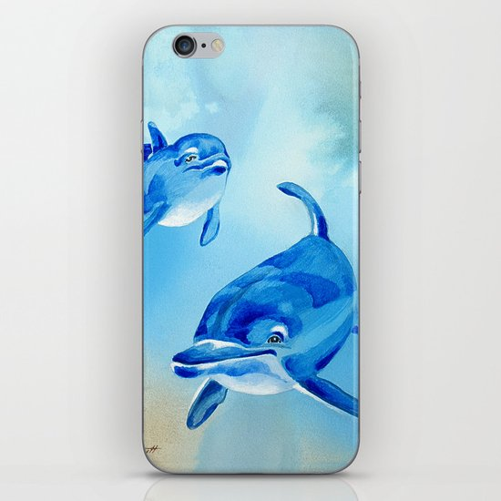 Floating Free - Dolphins iPhone & iPod Skin