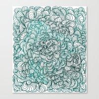 Squigg Block (Blue-Green… Canvas Print