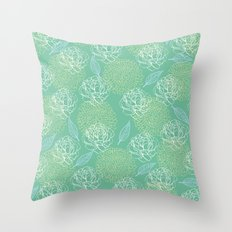 Pastel Peony and Leaf Pattern Design  Throw Pillow