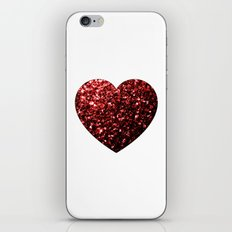 Red Glitter sparkles Heart on white iPhone & iPod Skin