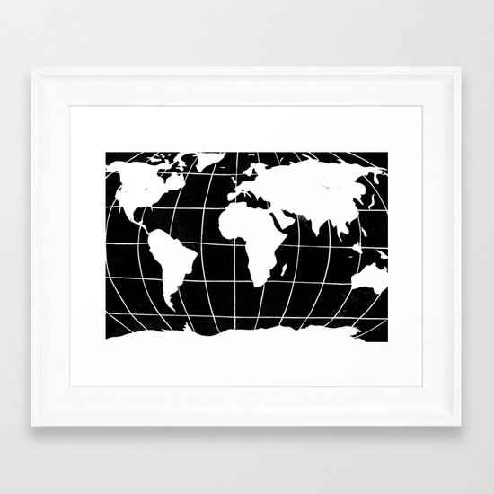 Map of the World in Black Framed Art Print